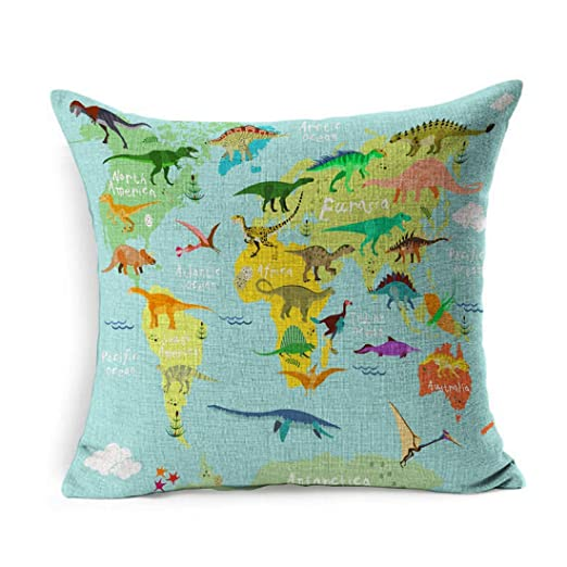 Funda de Almohada Square Evolution Cute Dinosaurios Mapa ...