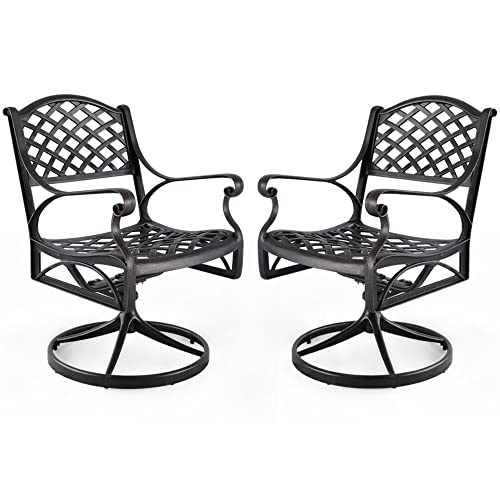 Nuu Garden Outdoor Furniture Solid Cast Aluminum Patio Conversation Dining Swivel Rocker Club Chair CD003, Antique Bronze Set of 2