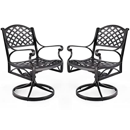 Nuu Garden Outdoor Furniture Solid Cast Aluminum Patio Conversation Dining  Swivel Rocker Club Chair CD003,