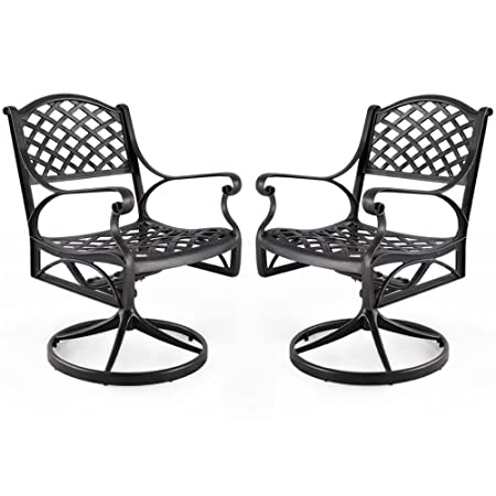 Nuu Garden Outdoor Furniture Solid Cast Aluminum Patio Conversation Dining Swivel Rocker Club Chair CD003, Antique Bronze Set of 2