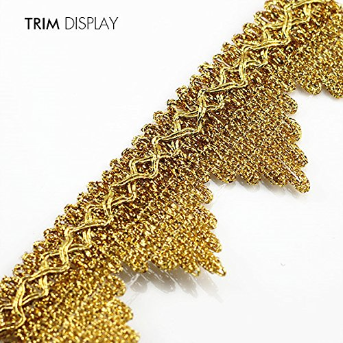 10yd Gold Metallic Embroidered Lace Polyester Braided Ribbon Applique Trim Scrapbooking Embossed Craft Sewing for Belt T905