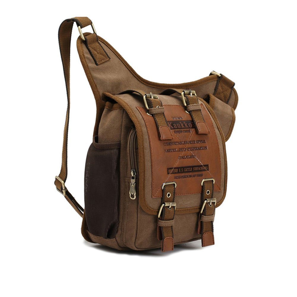 Amazon.com: APG Men's Brown Canvas Leather Single Shoulder Cross ...