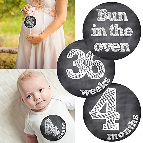 Pregnancy Belly & Matching Baby Milestone Monthly Stickers - Shower Gift Idea Or Scrapbook Photo Keepsake