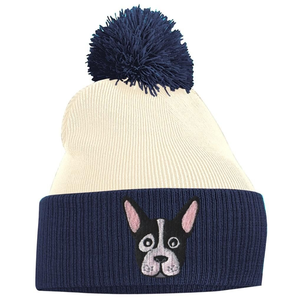 9b368aa13 Pom Pom Beanie Knit Hats for Women French Bulldog Puppy Bobble Hat Thick  Embroidered Cute Animal Face Knitted Knit Cap One Size Fits All