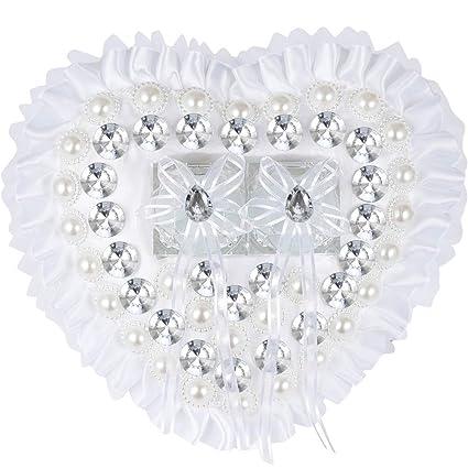 Cojín para anillos de boda con forma de corazón con flores ...