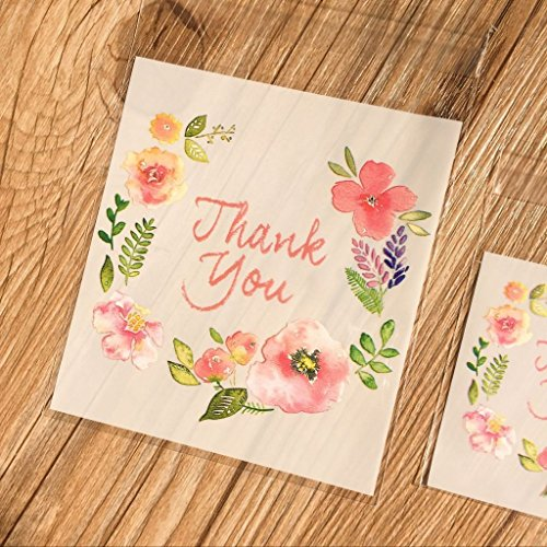 Yunko 100pcs Thank You Pink Flower Self Adhesive Cookie Bakery Candy Biscuit Roasting Treat Gift DIY Plastic Bag For Mother