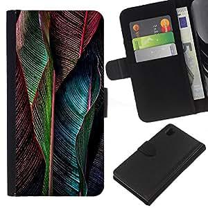 EJOY---La carpeta del tirón la caja de cuero de alta calidad de la PU Caso protector / Sony Xperia Z1 L39 / --Pluma vibrante del trullo Verde