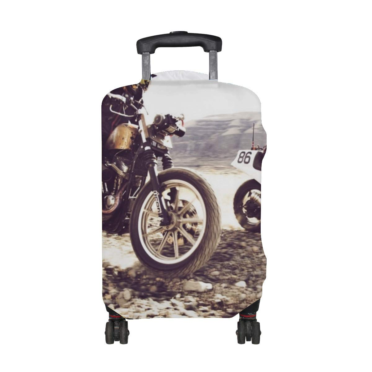Speed Road Race Bikes Pattern Print Travel Luggage Protector Baggage Suitcase Cover Fits 18-21 Inch Luggage