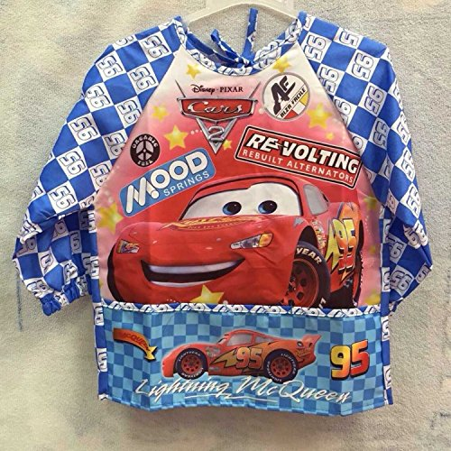 CJB Cars Lightning McQueen 95 Water Resistant Kids School Art Paint Smock Bib Apron with Sleeves - L/ 3-5 Years Old (US (Detailed Halloween Face Paint)