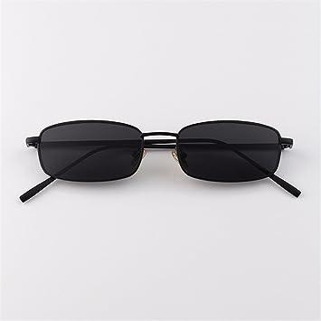 LXKMTYJ Kleine Box Metall Sonnenbrille Flache Männer Lady'S Vintage Sonnenbrillen, Kaffee