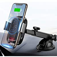 Baseus Wireless Car Charger Mount, 10w Automatic Infrared Qi Fast Charging Car Phone Holder Dashboard Compatible with…