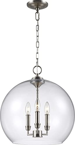 Feiss F3155/3SN Lawler Glass Multi Light Pendant