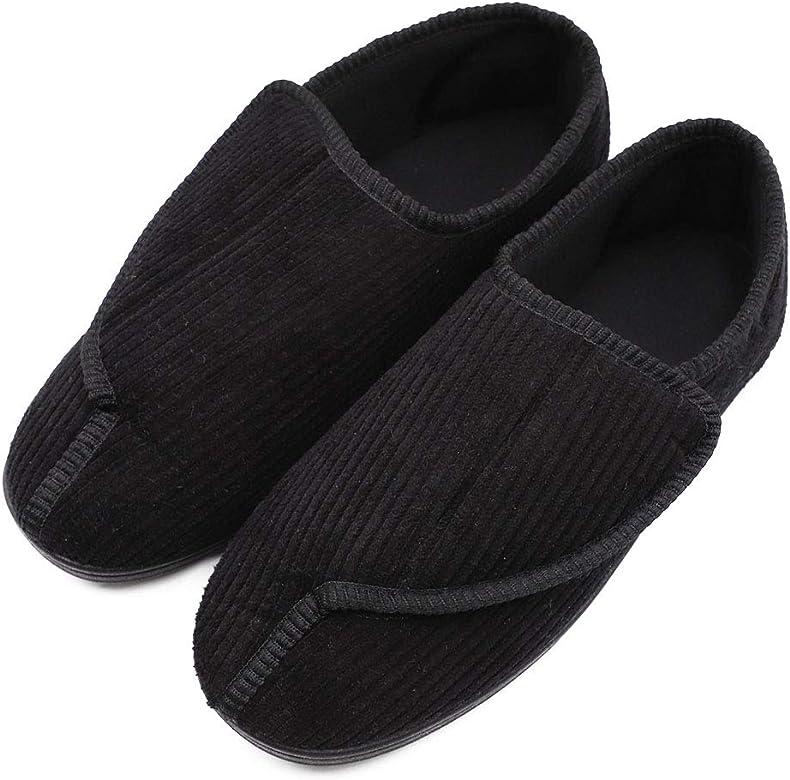 6e86ca9730b3c Men's Memory Foam Diabetic Slippers with Adjustable Closures,Extra Wide  Width Comfy Warm Plush Fleece Arthritis Edema Swollen House Shoes ...