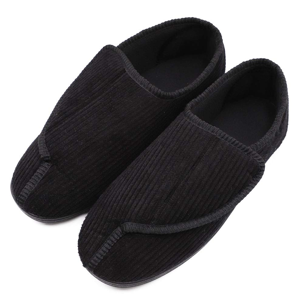 26cf9be67e23b BIZAR Men's Memory Foam Slippers for Diabetic, Soft Wide Width House Shoes  with Plush Fleece Arthritis Edema Swollen Feet Indoor/Outdoor - Diabetics  ...