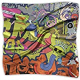 Fashion Women Graffiti Wall-art Hip-hop Style Print Square Kerchief Scarf Head Wrap Neck Satin Shawl