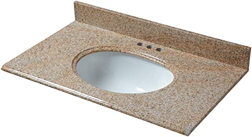 CAHABA CAVT0132 37 x 22 Beige Granite Vanity Top with oval bowl and 4 faucet spread