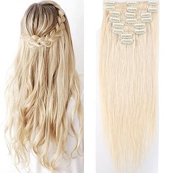 Gute Preise Top Qualität verschiedene Arten von Clip In Extensions Echthaar 40cm - Remy Haarverlängerung 8 Tressen 65g -  (#60 Platinum Blonde)