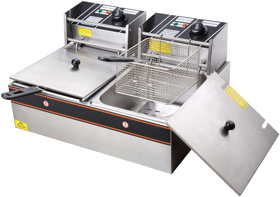 WeChef 12L Electric Commercial Stainless Steel Deep Fryer Countertop Dual Tank Basket Restaurant Kitchen Equipment