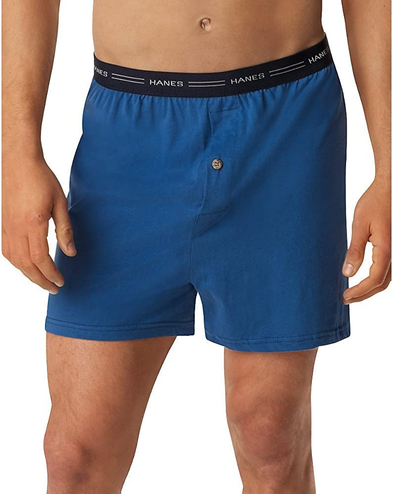 Hanes Men's 5-Pack Exposed Waistband Knit Boxers at  Men's Clothing store