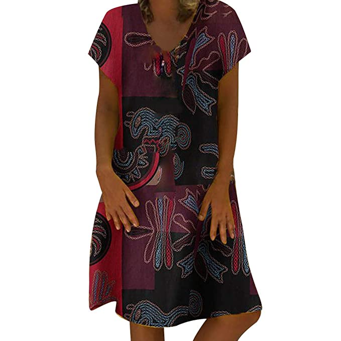 1f9877249172 IAMUP Women Summer O Neck Dress Vintage Print Sleeveless Dresses Zipper  Pocket Casual Loose Dresses Red