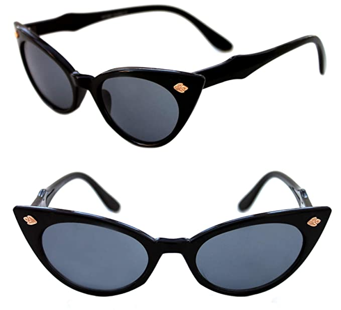 bc12cc68358 Women s Cat eye Frame 50 s Vintage Retro Fashion Classic Small polished  Black Frame Sunglasses (Black