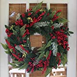 Woodford Winter Berry Wreath 24 Inch - All Weather Outdoor Christmas Wreath That Lasts For Years, Handmade Holiday Design Enlivens Your Home Entry, Beautiful White Gift Box And Hanging Loop Included.
