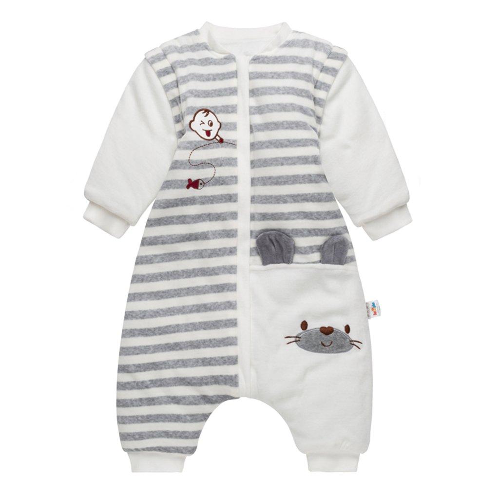 Saco de dormir para bebé con pies, bebé bolsa de dormir mangas extraíbles y Piernas separadas invierno saco antideslizante para dormir 100% algodón ...