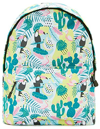 Leapparel Cute Big Backpack for Preppy College Yellow Teal Woodpecker Pink Flamingo Green Pink Leaves Blue Cactus Bananas Trendy Popular Side Bags for Back to School Fashion Sports Kids Back ()