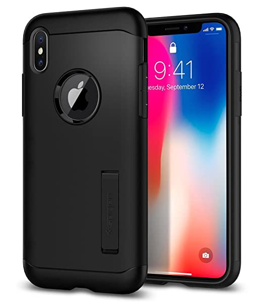 buy online e5cb8 08aab Spigen Slim Armor iPhone X Case with Air Cushion Technology and Hybrid Drop  Protection for iPhone x (2017) - Black