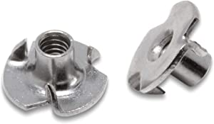 """Stainless T-Nuts, 8-32 (25 Pack), Threaded Insert, Choose Size/Quantity, by Bolt Dropper, Pronged Tee Nut. (#8-32 X 1/4"""")"""