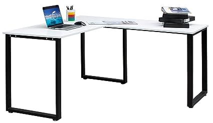Merax 59u201d L Shapped Desk With Metal Legs Office Desk Corner Computer Desk PC