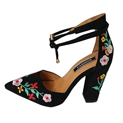 9a47b3d8520019 SANFASHION Femmes Sandales Broderie Rose Fleur Daim Talons Rugueux  Décontractée Élégant (34, Noir)