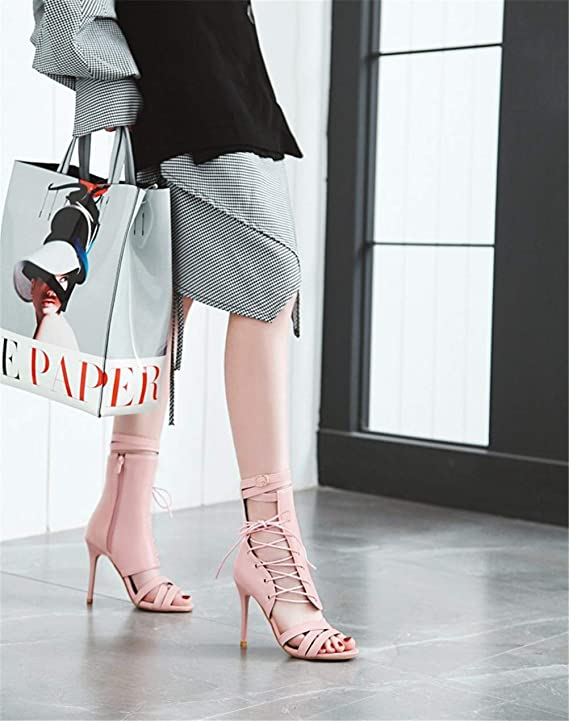 Jiahe Zapatos de Moda para Mujer Botines - Cremallera Trasera - Peep-Toe - Abierto - Sexy - Tanga - Sandalias de tacón Alto con Correa lateral10cm, ...