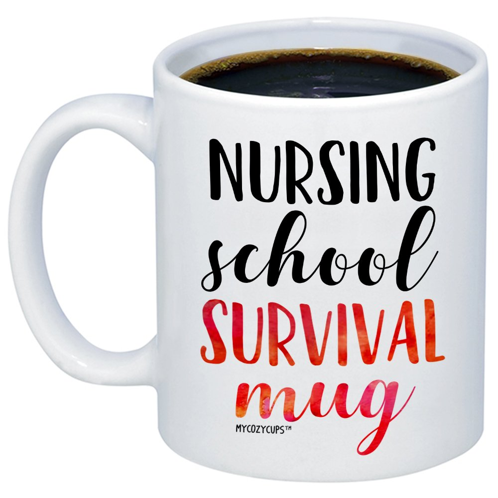 MyCozyCups Nursing Student Gifts - Nursing School Survival Mug - Funny Registered Nurse Assistant, Practitioner, RN, 11oz Coffee Cup For Women, Best Friend, Daughter, Mom, Wife - Graduation Present by MyCozyCups (Image #1)