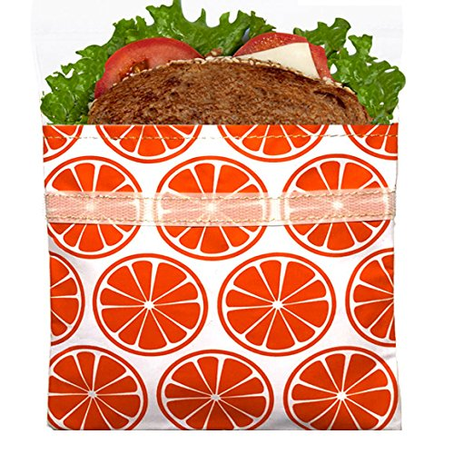 Lunchskins Reusable Sandwich Bag, Tangerine Orange