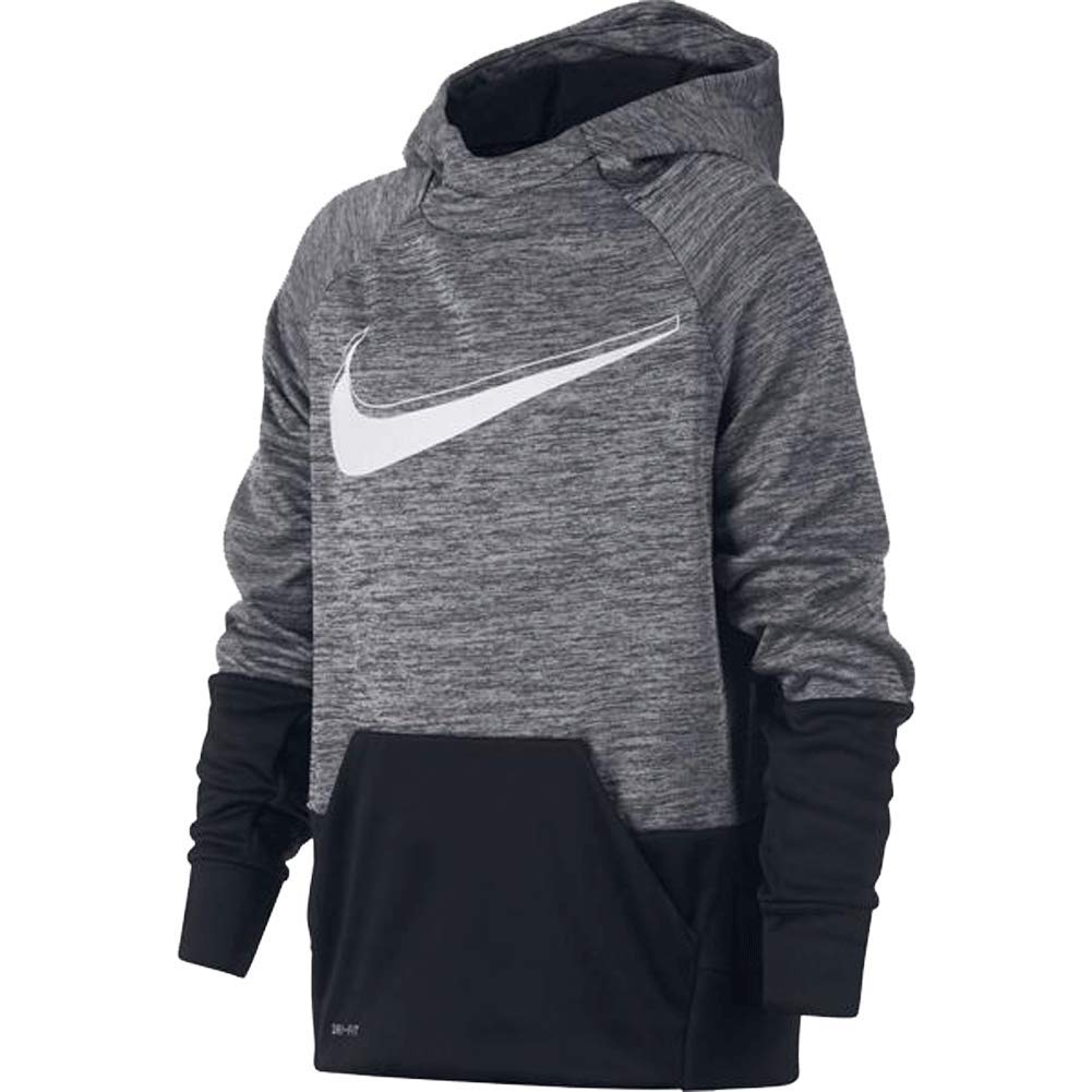 NIKE Boys' Therma Graphic Training Pullover Hoodie - Grey/Black/White Size Medium by Nike