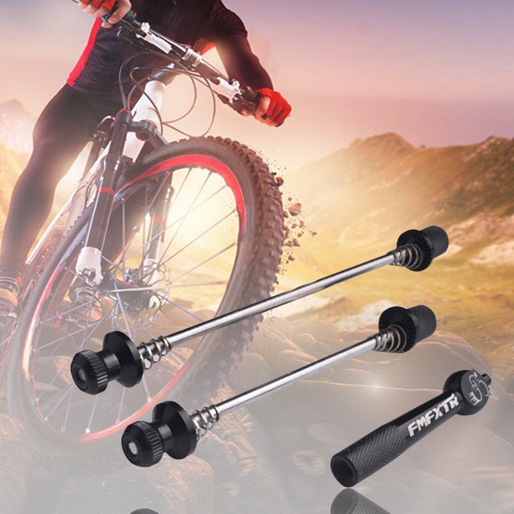 Comaie® Liberación rápida bicicleta Hub carretera montaña Barra de titanio de acero inoxidable de aleación de aluminio Hubs para bicicleta, azul