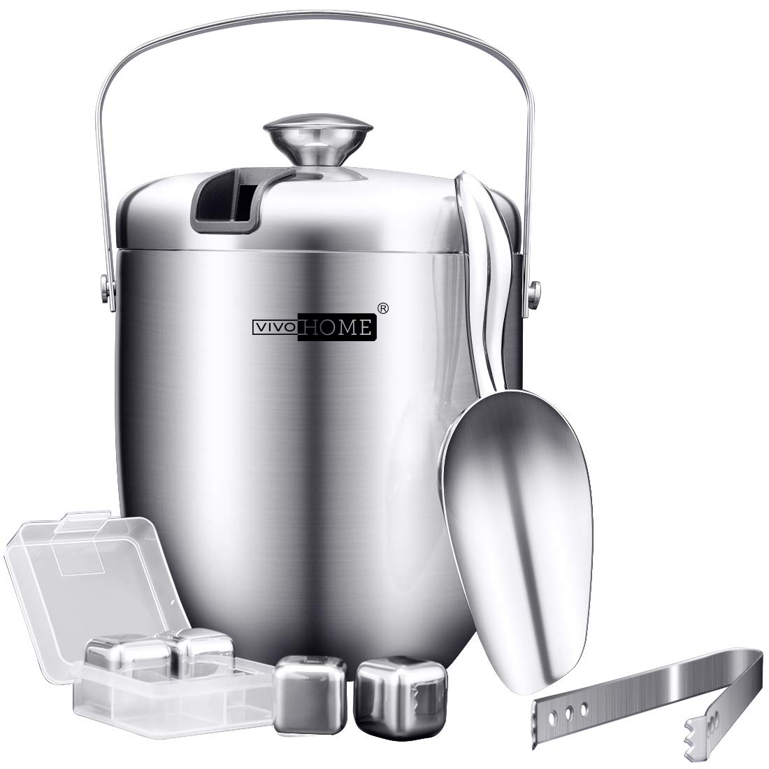 VIVOHOME 3Quart Stainless Steel Double Wall Insulated Ice Bucket Set with Lid Tongs Scoop and 4 Reusable Stainless Steel Ice Cubes Silver by VIVOHOME