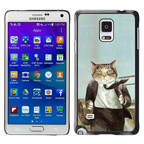 Plastic Shell Protective Case Cover || Samsung Galaxy Note 4 || Cat Suit Businessman Art Drawing Painting @XPTECH