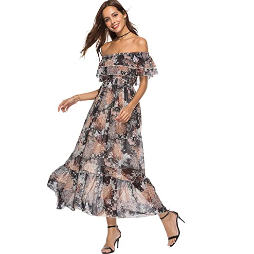 f9215ebb682 ilovgirl Party Dress with Slash Neck Off The Shoulder Chiffon Floral prit  Ruffle Trim Maxi Club Evening Dinner Cocktail Prom Dresses for Women Plus  Size  ...