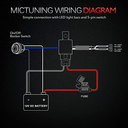 MICTUNING HD+ LED Light Bar Wiring Harness 12 Gauge 600W 40Amp Relay