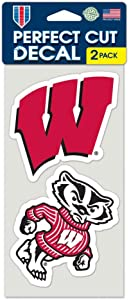 """NCAA University of Wisconsin Perfect Cut Decal (Set of 2), 4"""" x 4"""""""