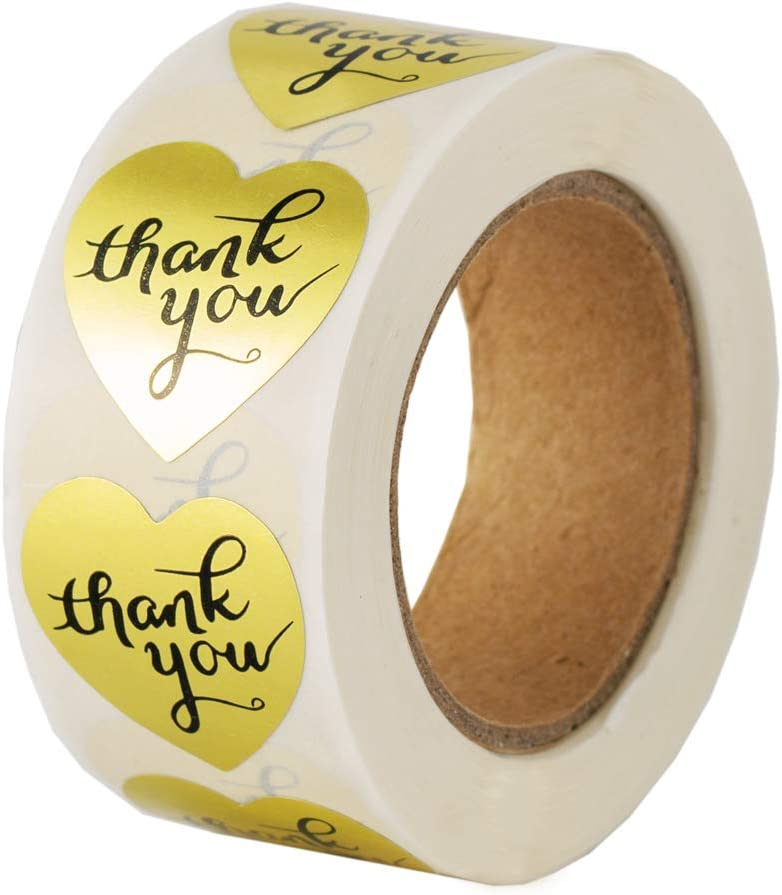 Cute Heart Stickers , Thank You Gold Letter Label Stickers Roll for Supporting My Small Business 500 Tags , Perfect for Online Retail Store Bakery , To Decorate Package or Valentine Christmas Gift Box