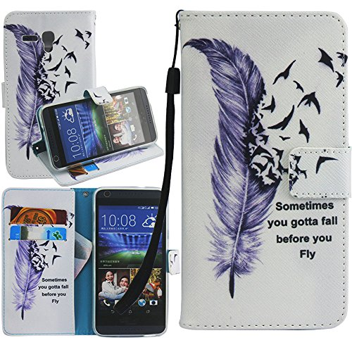 Alcatel One Touch Fierce XL Case, One Touch Fierce XL Wallet Case, Harryshell(TM) Feather Wallet Folio Leather Flip Case Cover with Card Id Slot and Wrist Strap for Alcatel One Touch Fierce XL 5054