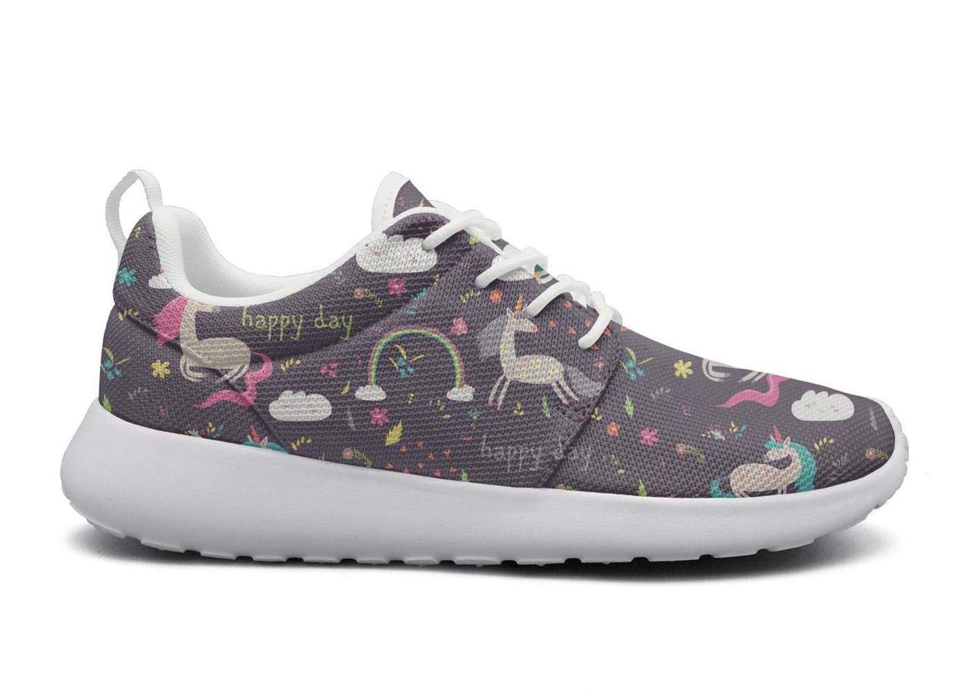ipdterty Wear-Resistant Outdoor Sneaker Happy Unicorn in The Flowers Women Cool Athletic Running Shoes