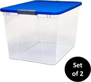 HOMZ 3364CLBLTSDC.02 Clear Storage Bin with Lid, 2 Pack, Blue, 2 Sets