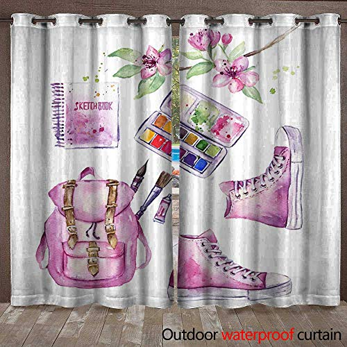 Paintbox Fabric (BlountDecor Home Patio Outdoor Curtain Art Tools Set with Sketchbook Paintbrush Backpack Sneakers Paintbox Watercolor Waterproof CurtainW120 x L108)
