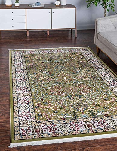 Unique Loom Narenj Collection Classic Traditional Hunting Scene Textured Green Area Rug 10 0 x 13 0