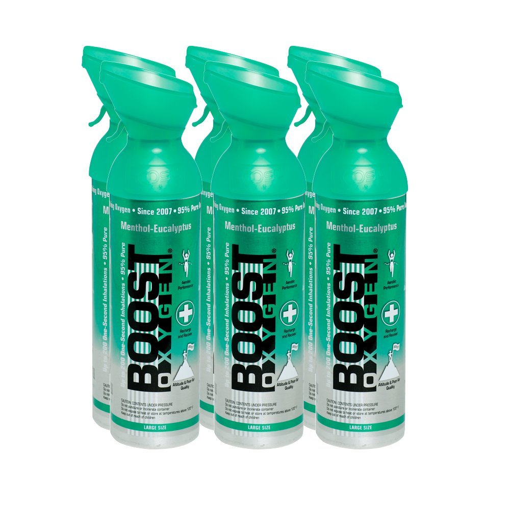 95% Pure Oxygen by Boost Oxygen - Portable Canister of Supplemental Oxygen - Increases Endurance, Recovery and Performance - 10 Liter Canisters - 6 Pack (Menthol Eucalyptus)