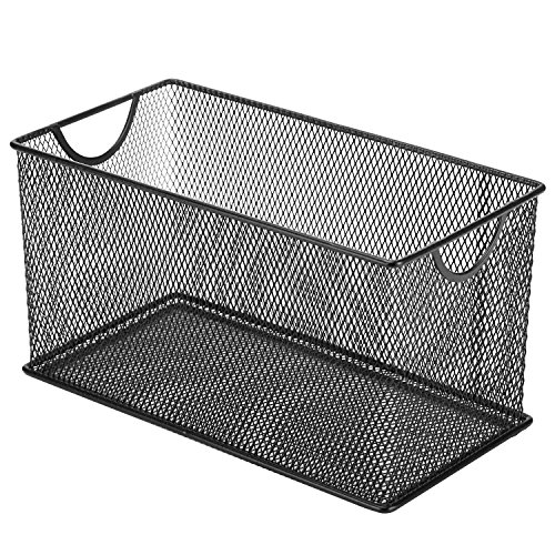 Black Mesh Metal CD Holder Box Organizer, Open Storage Bin